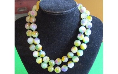Lavender and Spinach Green Jade Bead Necklace Recently Restr...