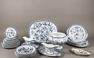 """Leftover dinner service, """"Fasan"""", Villeroy & Boch, Mettlach, end of the 19th century. (30)."""