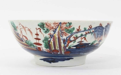 Liverpool round bowl, painted in Chinese style, circa 1770