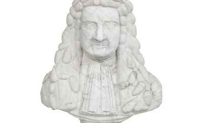 Of Scottish interest: A carved white marble portrait bust of a gentleman, by repute once believed to depict Sir John Turing, 1st Baronet of Foveran (c1595-1662)