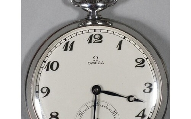 Omega, a stainless steel open face key less wind pocket watc...