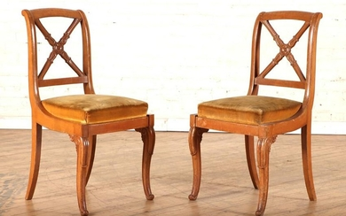 PAIR CHARLES X STYLE SIDE CHAIRS CARVED LEGS 1900