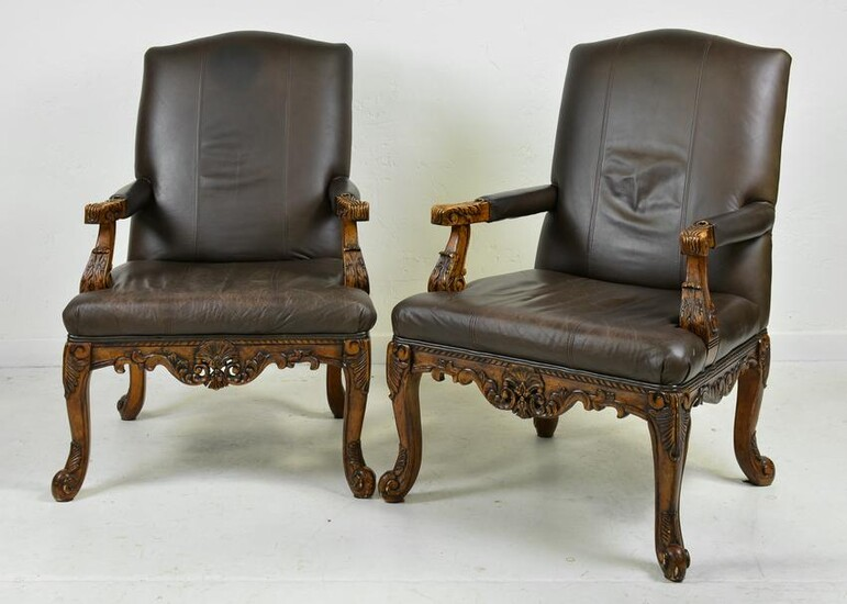 Pair Of French Style Carved Arm Chairs