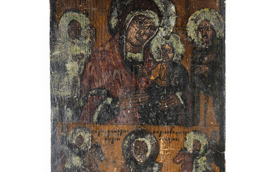 Pair of Christian Icons from 19th c, Figure of Holy Mary, 1 Ukrainian & 1 Russian