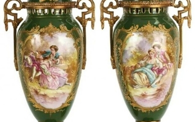 Pair of French Porcelain Urns With Ormolu Mounts