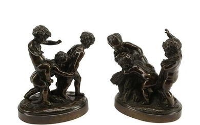 Pair of Patinated Bronze Figural Groups.