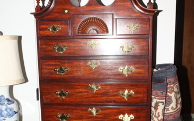 QUEEN ANNE/CHIPPENDALE STYLE CARVED MAHOGANY HIGHBOY. Upper section has broken...