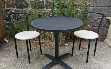 Round café table {71 cm H x 70 cm Dia.} and two matching cha...