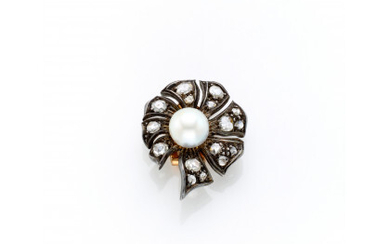 Silver and 12K gold earring with irregular rose cut diamonds centering a mm 8.50 circa pearl g 6.91 circa, length…Read more