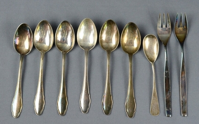 Silver set, 7 pieces, consisting of 6 matching coffee spoons, silver 800, two cake forks, WMF, silv
