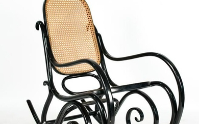 THONET-STYLE LACQUERED BENTWOOD ROCKING CHAIR
