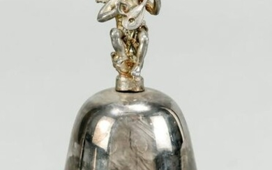 Table bell, 20th c., plated, figura