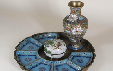 Three Chinese Cloisonne Articles