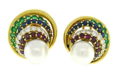Vintage Andrew Clunn Gold Earrings with Pearl Gemstones