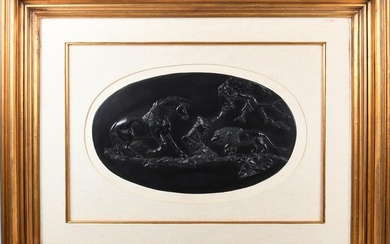 WEDGWOOD BLACK BASALT â LIMITED EDITIONâ OVAL PLAQUE, â THE FRIGHTENED HORSEâ