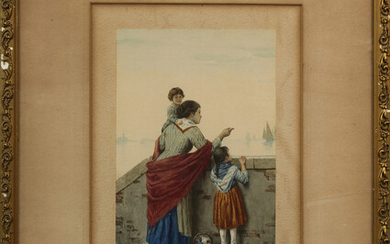 Watercolor on Paper, Family Watching Fishing Boats