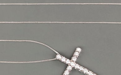 18 kt. White gold - Necklace with pendant - 0.34 ct Diamonds