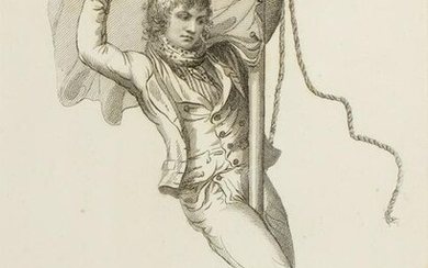18TH C. ENGRAVING OF A SAILOR'S HEROISM AT CAMPERDOWN