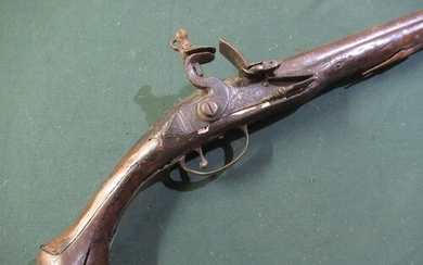 18th C continental flintlock pistol with12 inch barrel with ...