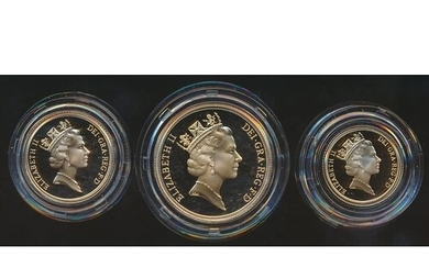 1996 cased gold proof set of 3 (£2, sovereign and half sover...