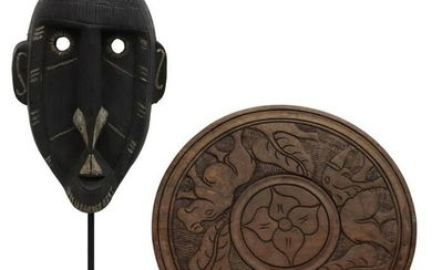 (2) AFRICAN TRIBAL CARVED MASK & DECORATIVE PANEL