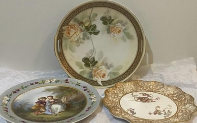 3 English Porcelain Hand Painted Plates