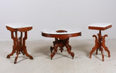(3) Victorian carved walnut marbletop tables