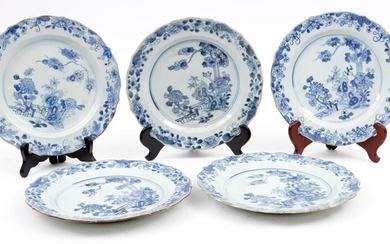 5 Blue/white Chinese porcelain plates with serrated