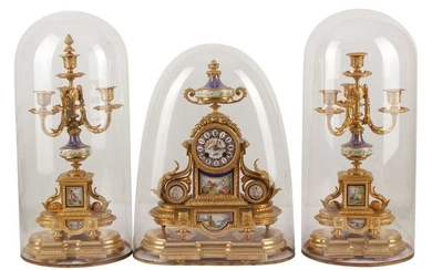 A GILT METAL AND SEVRES STYLE PORCELAIN CLOCK GARNITURE, LATE 19TH/EARLY 20TH CENTURY