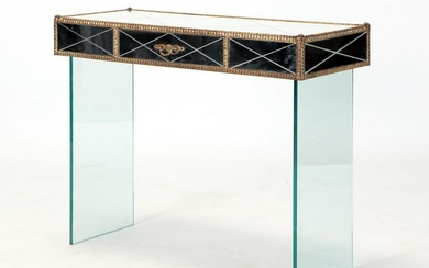 A GLASS, BRASS AND MIRROR CONSOLE TABLE C 1950