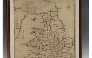A George III needlework map sampler, England, the counties m...