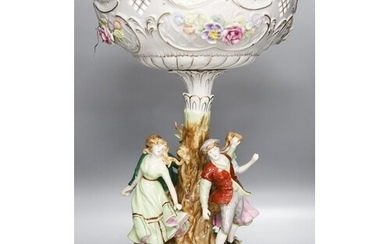 A German porcelain fruit stand, the stem decorated with four...