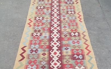 A HAND KNOTTED PURE WOOL PERSIAN KILIM RUNNER