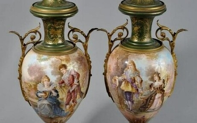 A LARGE PAIR OF ORMOLU MOUNTED SEVRES VASES
