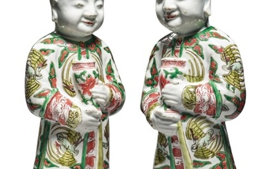 A Pair of Chinese Famille-verte Figures of Boys, Qing Dynasty, 18th / 19th Century | 清十八 / 十九世紀 五彩童子擺件一對