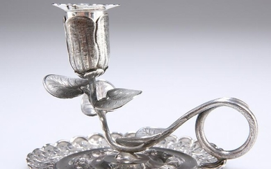 AN EARLY VICTORIAN SILVER CHAMBERSTICK, by