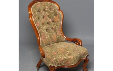 A VICTORIAN WALNUT SALON CHAIR of spoonback show frame form ...