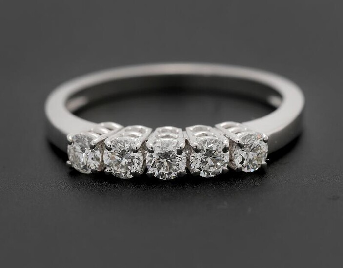 NOT SOLD. A diamond ring set with five brilliant-cut diamonds weighing a total of app. 0.59 ct., mounted in 18k white gold. Size 54. – Bruun Rasmussen Auctioneers of Fine Art