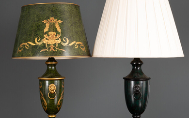 A green toleware table lamp and shade