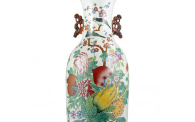 """A large baluster vase with floral decoration and """"Buddha's hand"""", inscribed (defects) China, Qing dynasty, Tongzhi period (1862-1874) (h. 60…Read more"""