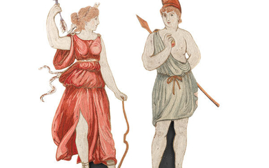 A pair of 19th century embroidered classical figural panels depicting Artemis and Ares