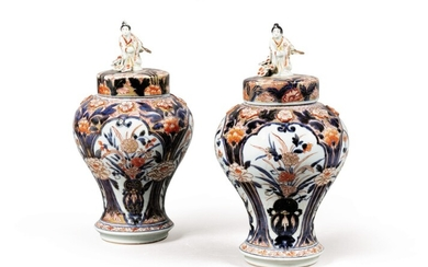 A pair of Imari baluster vases and covers Japan, Edo period, 18th century, Japan, Edo period, 18th century