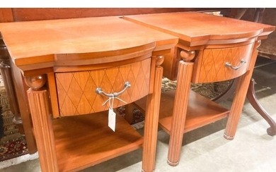 A pair of mahogany bowfront bedside cabinets, width 50cm, de...