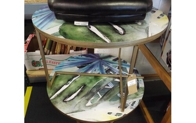 A pair of stylish transfer printed side tables