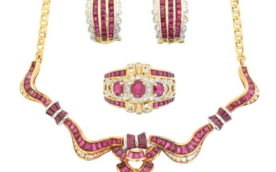 A ruby and diamond suite of jewellery