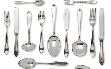 A set of 999 Dutch silver flatware by MJ Gerritsen, Zeist, c.1982, comprising nine each: table forks; table knives; table spoons; fish forks; fish knives; dessert forks; dessert knives; pastry forks; dessert spoons and teaspoons, together with...
