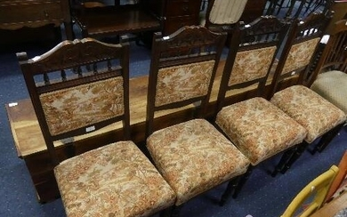 A set of four late Victorian walnut Parlour Chairs, the carv...