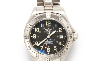 A stainless steel wristwatch, Super Ocean Automatic, Breitling