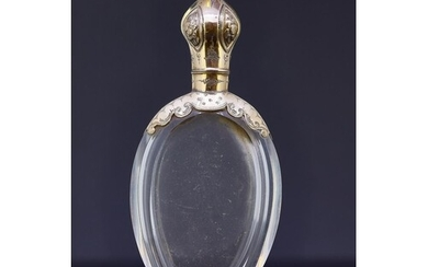 ANTIQUE VICTORIAN ROCK CRYSTAL PERFUME BOTTLE WITH GOLD MOUN...