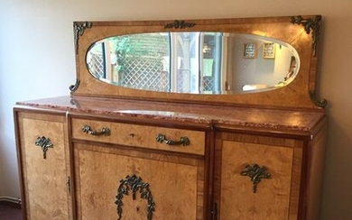 Art Deco sideboard with marble top and mirror curb